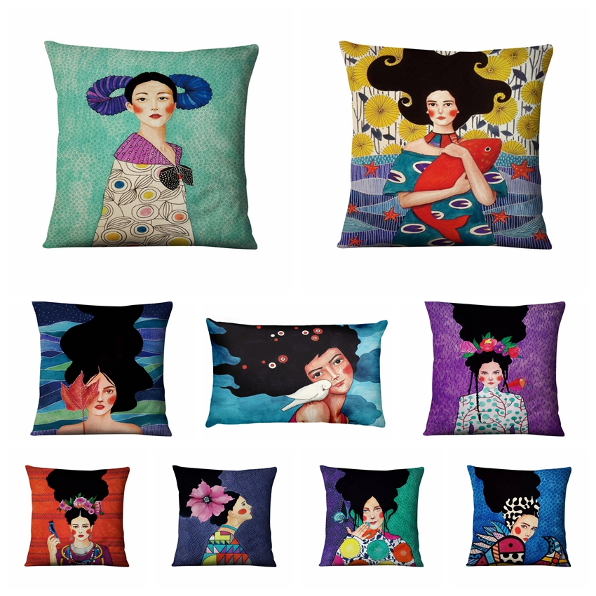 Fashion Art Girls Printed Cotton Linen Pillowcase Almofadas Night Sky Cushion Decorative Pillows Home Decor Sofa Throw Pillow