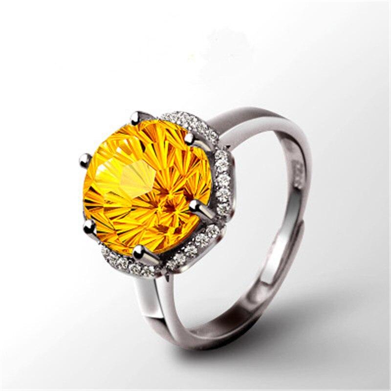 S925 bagues en argent pour femmes Citrine naturelle pierres précieuses Sterling bijoux fins 18 K or Rose Rectangle mariée mariage Bijouterie - 5