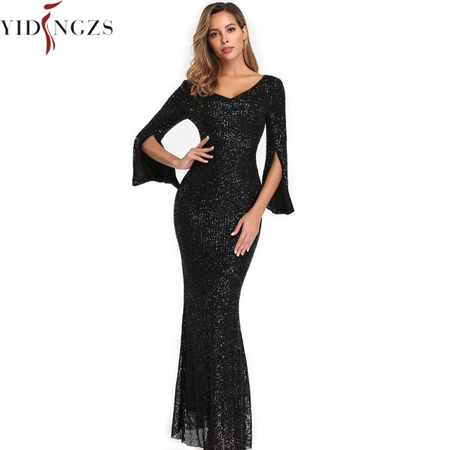 Burgund Evening Dress Long Sleeve YIDINGZS Elegant Mermaid Long Formal Evening Party Dress YD782 5