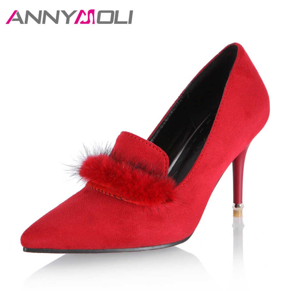 ANNYMOLI Women Pumps High Heels Lady Party Shoes Women Elegant Red Shoes 2017 Autumn Fashion Large Size 33-46 Fur Ladies Pumps 23 937537