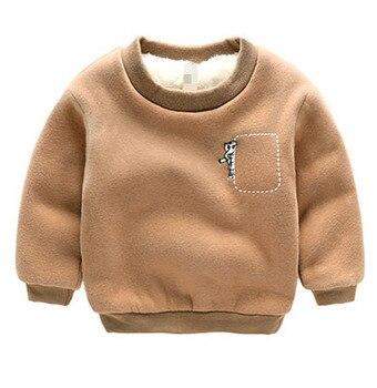 2016 Winter Kids Plus velvet T shirt Thick cotton Fashion Baby Boys girls Warm Cashmere children clothes hoodies sweatshirts
