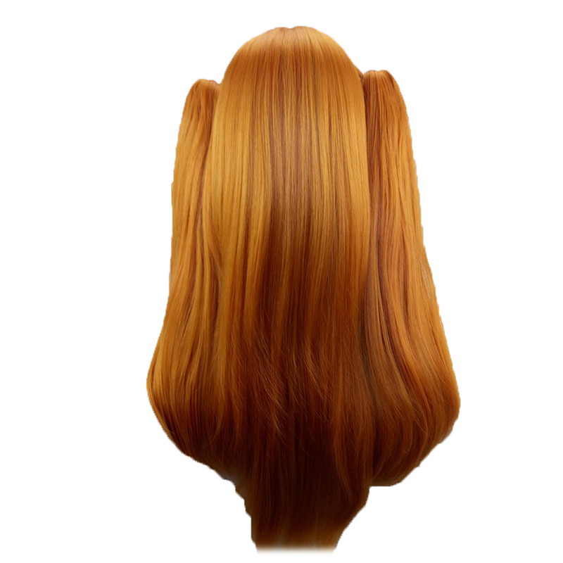 HAIRJOY  Synthetic Hair Woman 70cm Long Straight  Braided Orange Blonde Party  Wigs +2 Clips Ponytail Cosplay Wig 2