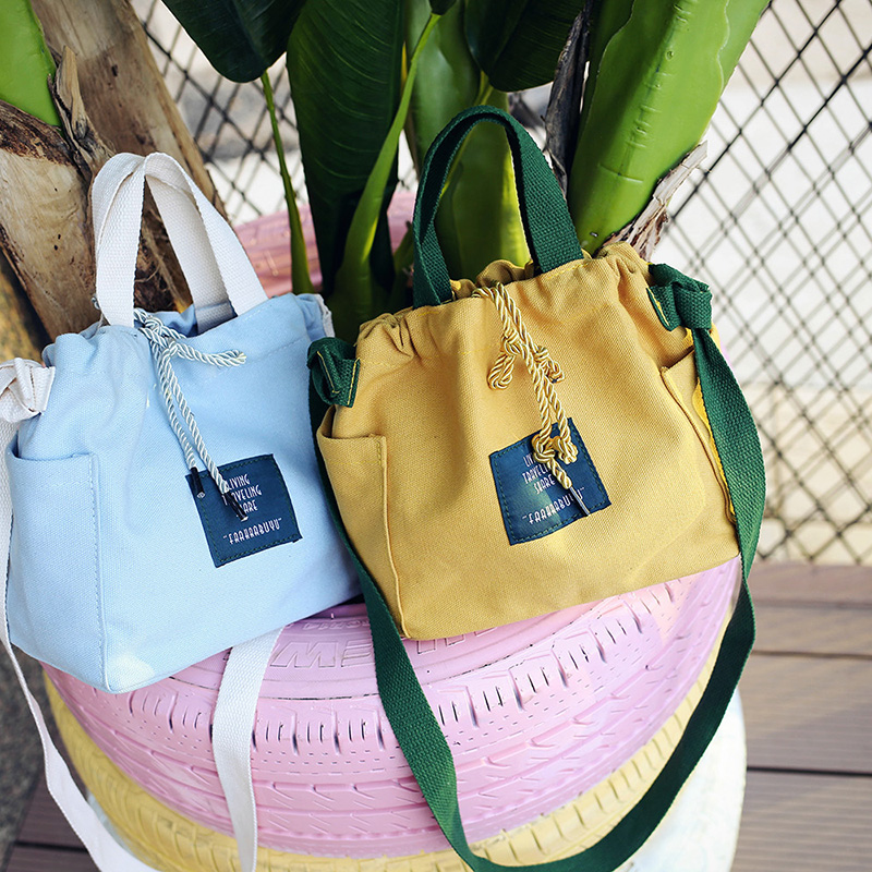 Canvas Bucket Bags Handbags Panelled Crossbody Bags Beach Bag Drawstring Shoulder Bag Ladies Fresh Bolsa