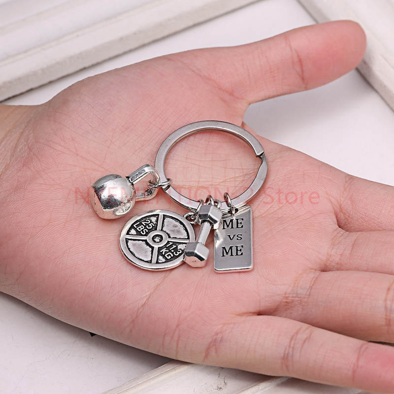 100pcs/lot  DIY Key Chains Jewelry Barbell Dumbbell Fitness Gym Keychain Key Finder With Strong Is Keychain