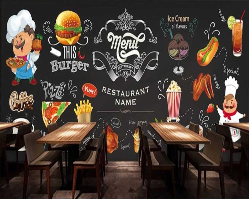 Beibehang Custom 3D wallpaper HD handgeschilderde Westerse restaurant fast food restaurant burger winkel achtergrond behang 3d muurschildering