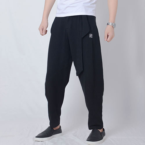 Men Trousers Japanese Samurai Style Boho Casual Low Drop