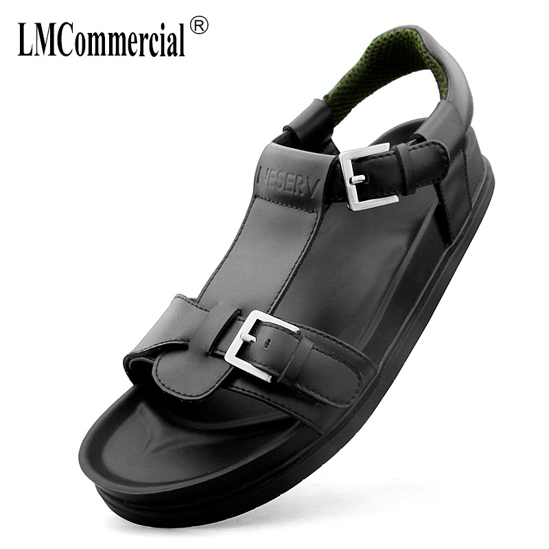 summer mens Rome sandals Sneakers Men Slippers Flip Flops British retro casual Shoes beach outdoor all-match cowhide male