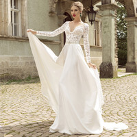 Robe De Mariage V Neck Lace Long Sleeve Wedding Dress Beaded Belt Zipper Back Bridal Gown