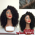 Free Shipping High Quality 100% Heat Resistant Fiber 1B# Black Color Afro Kinky Curl Synthetic Lace Front Cheap Bob Wigs