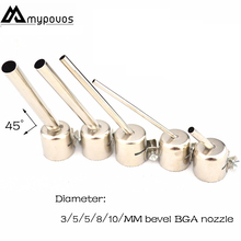 Oblique angle of 45 degrees Lengthened type BGA nozzle 850/852 series hot air gun nozzle for YIHUA SAIKE LUKEY 850 852D+