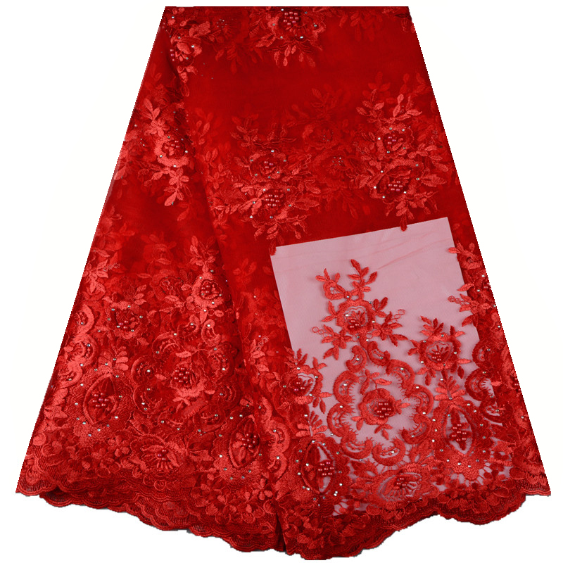 2018 Red Color High Quality African Tulle Lace Fabric Wholesale Stones French Net Lace Fabric For