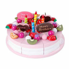 Free shipping Kids wooden decoration cake set, Cake scale models simulation play house toy, Wooden children's educational toy