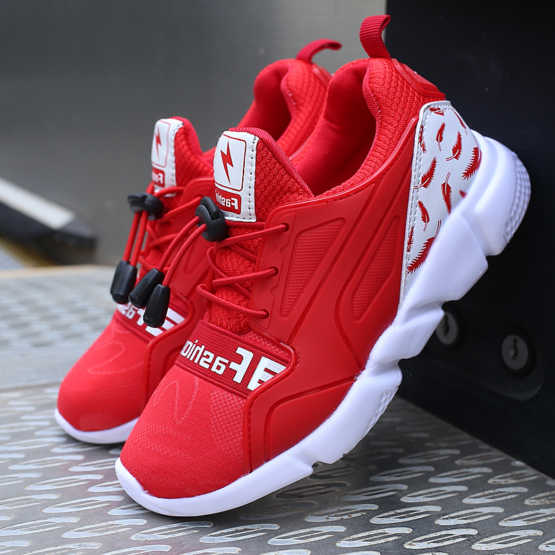 ULKNN Red Sport Kids Sneakers For Children Shoes Boys Casual Shoes Girls Trainer Air Mesh Breathable Fly Knit Elastic Band Shoe 2016 new shoes for children breathable children boy shoes casual running kids sneakers mesh boys sport shoes kids sneakers