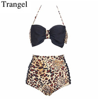 Trangel High Waist Swimwear Women Push Up Bikinis Women Bikini Plus Size Bikini Halter Top Swimsuit