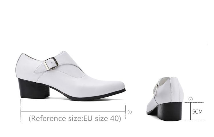 New mens genuine leather dress shoes high heels pointed toe height increase fashion wedding shoes white black career work shoes