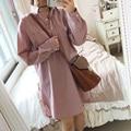 Namorado blusa listrada camisa de manga longa mulheres camisa blusa encabeça moda rosa branco chemise longue femme chemisier mujer