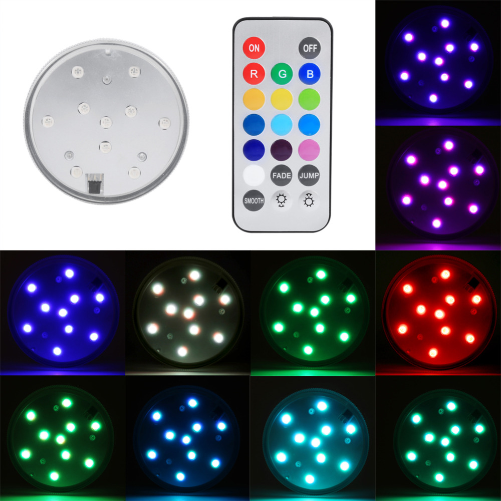 New Remote Diving Lights 10led Colorful Flashing Waterproof Electronic Candle Lighting Fish Tank Landscape Light