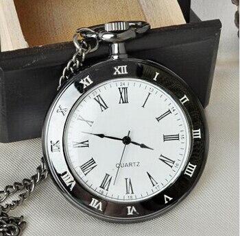 Uhren Sporting Vintage Schwarz Zifferblatt Römische Zahl Stahl Taschenuhr Einfache Stil Anhänger Uhren Mit 80 Cm Kette