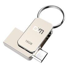 DM PD020 USB 플래시 드라이브, 16 기가 바이트 금속 OTG Pendrive 고속 USB2.0 메모리 스틱 32 기가 바이트 펜 드라이브 실제 용량 8 기가 바이트 U 디스크