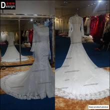New Custom Made 100% Real amostra de cristal frisada sereia capela trem vestido de noiva 2015(China (Mainland))