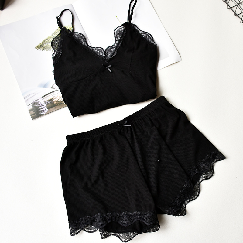 Herislim Two Piece Cotton   Pajamas     Sets   Sexy Lace Top And Shorts Pyjamas Sleepwear High Elastic Pijama Solid Nightie Home Clothes