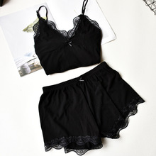 Herislim Two Piece Cotton Pajamas Sets Sexy Lace Top And Sho
