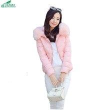 OKXGNZ Women Coat 2017 New Winter Fashion Pure color Short cotton Women jacket Coat Big yards Hooded fur collar Coat Women QQ147