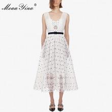 MoaaYina Fashion Designer Runway dress Spring Summer Women Dress Belt Lace Slim Elegant High quality Spaghetti Strap Dresses все цены