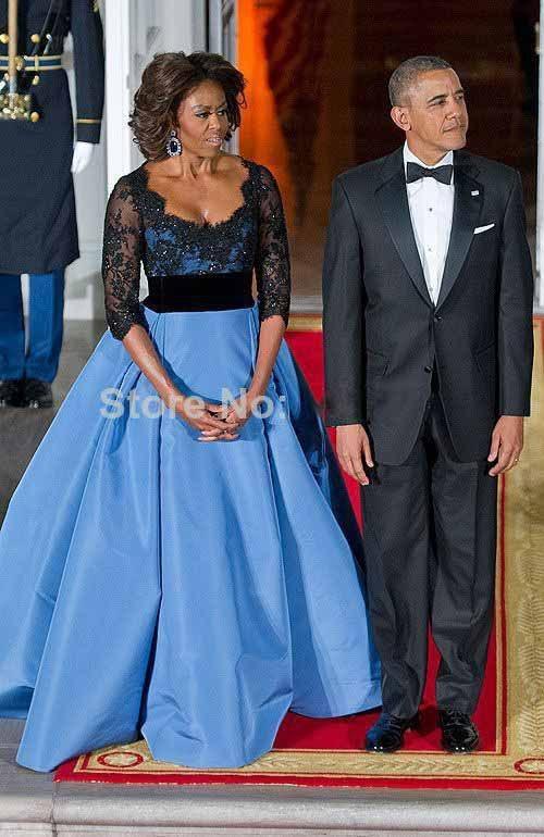 Michelle Obama Celebrity Dresses Scoop Neck Black Lace Appliqued Half Sleeve Satin Evening Gown Floor Length Party Dresses