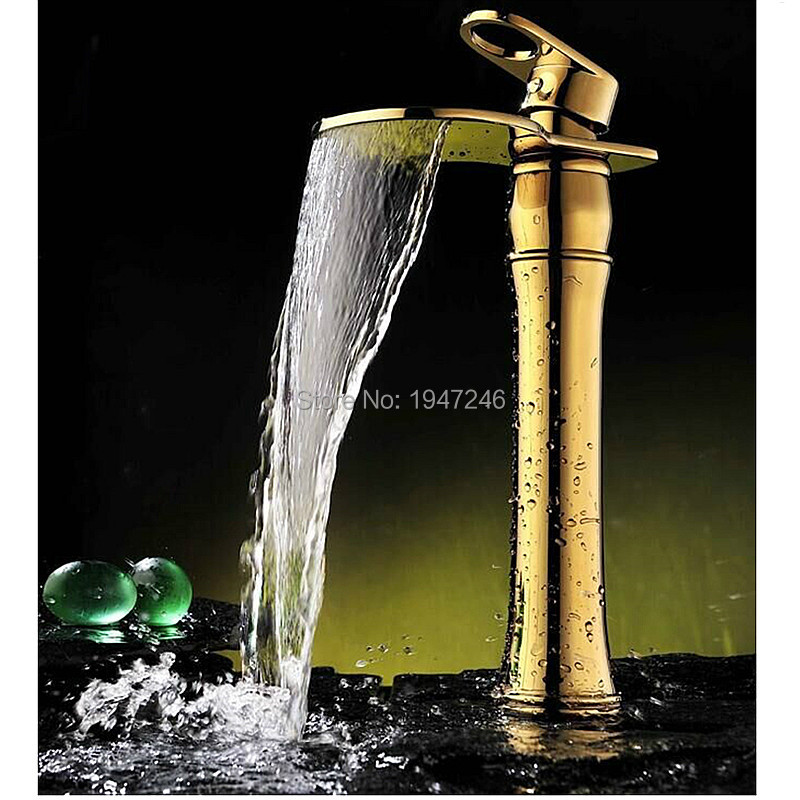 Factory Direct Hot Sale Elegant Design Newly 100% Solid Brass High Body Golden Vessel Sink Faucet Waterfall Bathroom Taps Mixer 20cm factory direct sale high to want to chop green toe ms is cool procrastinate professional design style unique