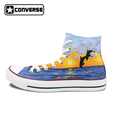 Dolphin Original Design Converse All Star Men Women Shoes Hand Painted Shoes High Top Sneakers Man