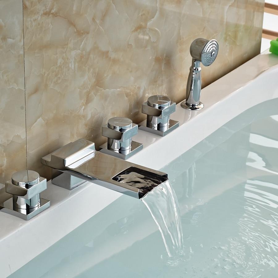 Solid Brass Waterfall Bathroom Tub Faucet 5 PCS Vessel Sink Mixer ...