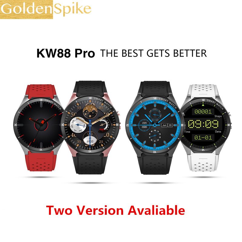 Hot Heart Rate KW88 Pro Smart Watch 1.39 Inch MTK6580 Quad Core 1.3GHZ Android 5.1 3G Smart Watch 400mAh 2.0MP Heartrate Monitor jrgk kw99 3g smartwatch phone android 1 39 mtk6580 quad core heart rate monitor pedometer gps smart watch for mens pk kw88