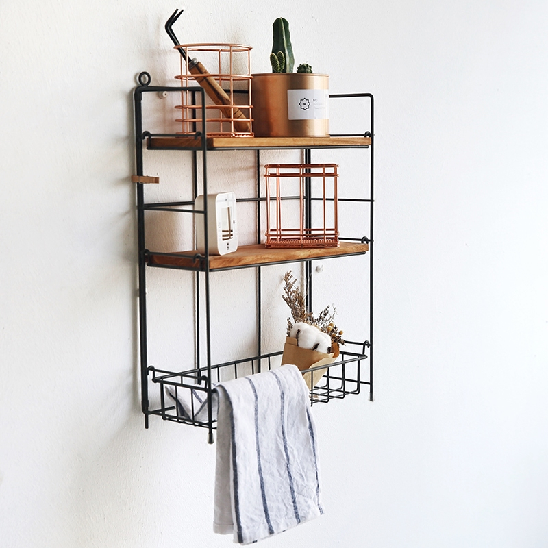 Rétro support mural ou comptoir étagère en métal à 3 niveaux avec panier, afficheur de bureau réglable