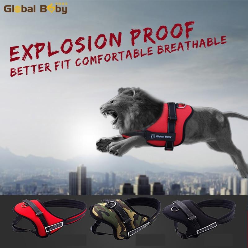 Alta calidad, suave, ajustable, protección, reflectante, mascota grande, chaleco, correa, medio, perro, arnés y correas combinadas
