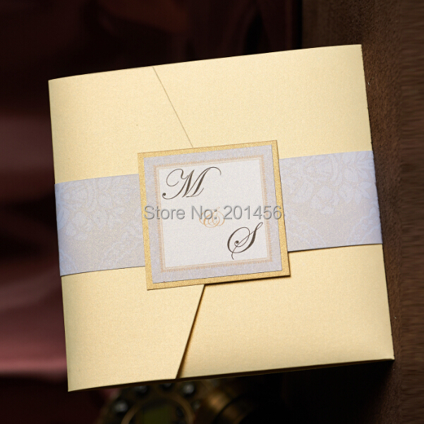 Cream Pocket Wedding Invitations Card With RSVP Free Customised Printing Birthday Invitation Cards Kit NK163 In From Home Garden