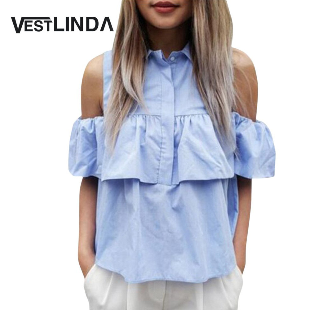 VESTLINDA Summer Women Off the Shoulder Ruffles Blouse Shirts Turn Down Collar Casual Sexy Tops Chemise Femme Work Office Blusas 08