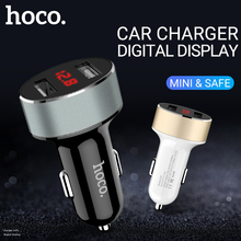 цена на hoco car charger usb charging adapter 12 24 volt best portable fast mini dual usb a port for apple iphone 6 7 8 x android phones