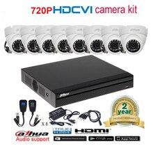 Dahua original 720P DH-HAC-HDW1100M waterproof CVI IR Dome Security Camera with H.264 8CH CVI DHI-XVR4108HS camera kit