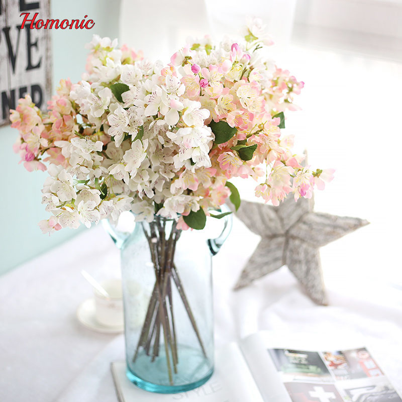 Buy Artificial Plants Plastic Fake Flowers Home Decoration Silk Cherry Blossoms