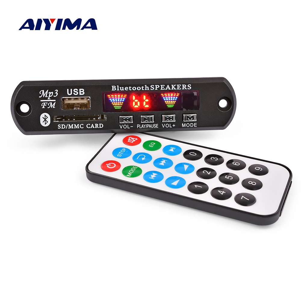 AIYIMA 12V Bluetooth MP3 Decoder Board 4 Color Display USB FM APE FLAC Lossless Decoding Wireless Bluetooth 5.0 Module Handsfree