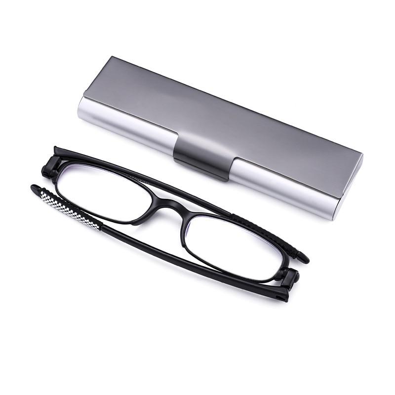 TR90 Black Framed Men's And Women's Ultra Light Comfortable Rotating Folding Reading Glasses Aluminum Box Package