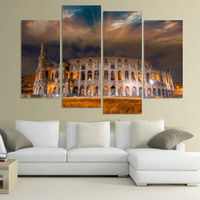 4 Piece Modern Wall Canvas Painting Rome Colosseum Building Home Decorative Art Picture Paint on Canvas Prints Modular picture
