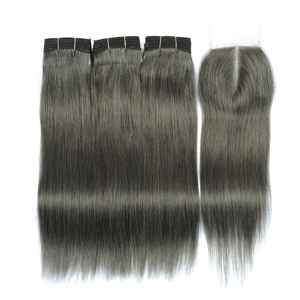Lilen Gray Hair Weave Malaysian Straight Hair Bundles With Closure Grey Brown Human Hair Bundles With Closure Non Remy No Tangle