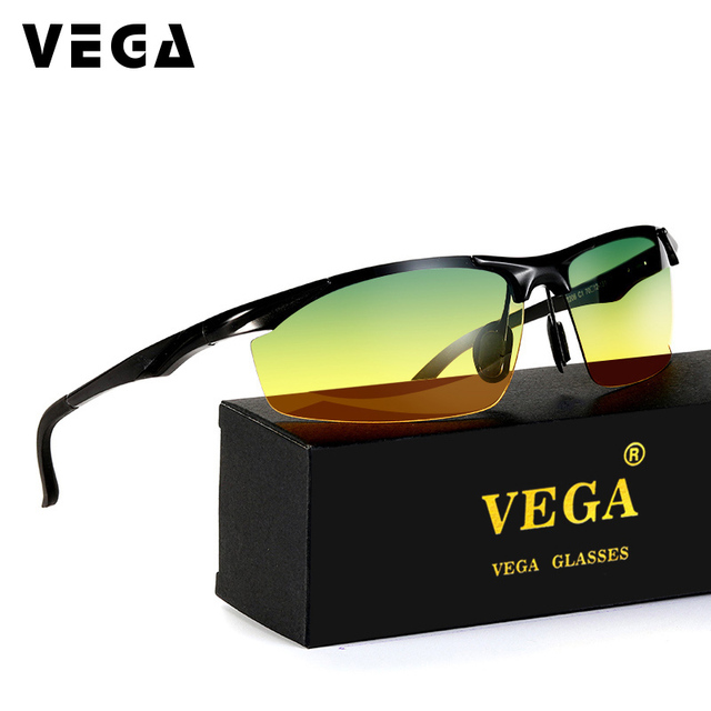 0f8b18f977f VEGA Cool Polarized Driving Sunglasses For Men Top Rated Day Night Driver  Glasses Semi-rimless