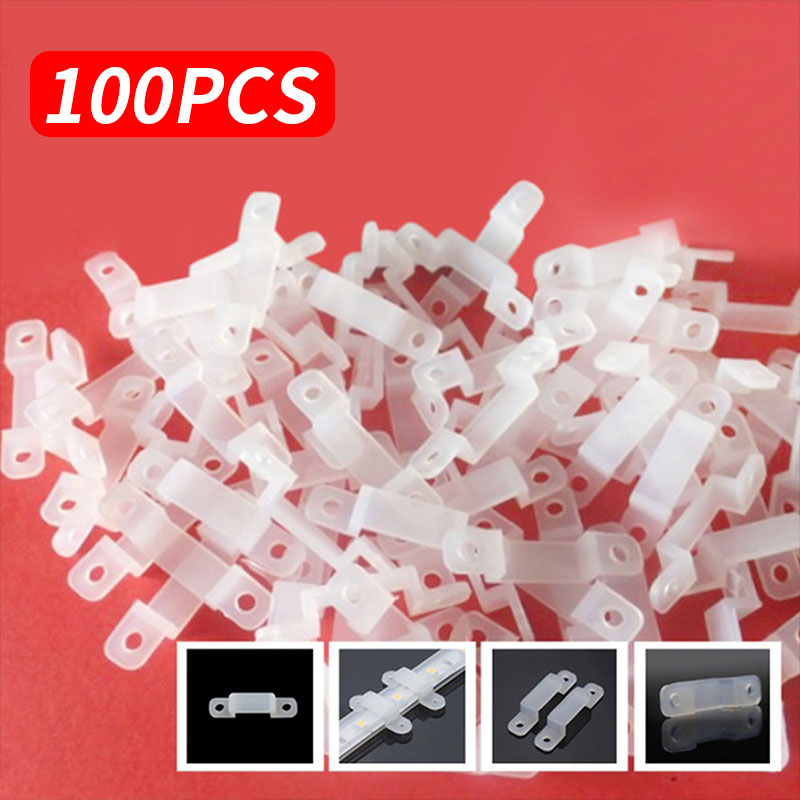 100pcs Fixer Silicon Clip Fastener Durable Soft LED Strip Light 5050 5630 RGB Fix Wire accessories Renovation Installation tool