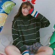 Корейской зимой водолазка полосатый свитер женщин ретро длинным рукавом свободные thicked свитера женщины повседневная основные трикотажные джемперы