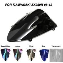 ABS Windscreen For Kawasaki Ninja ZX250R ZX 250R  2008 2009 2010 2011 2012 Motorcycle Windshield Iridium Wind Deflectors стоимость
