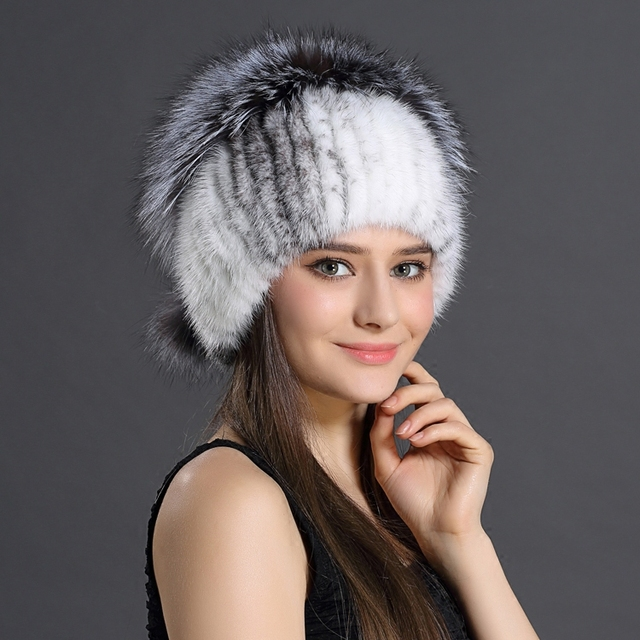 Genuine Mink and Fox Fur Ball Cap Pompoms Removed Winter Hat for Women's Warm Hat Knitted Beanies Cap Thick Ladies Cap