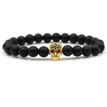 Hot Sale Fashion Gold Skull Bracelet Frosted Beads Natural Stone Set For Women Men Jewelry Gifts Dropshipping